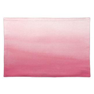 ピンクのグラデーションな水彩画の洗浄場所マット ランチョンマット