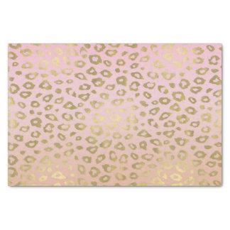 ピンクのグラデーションな金ゴールドのヒョウのプリント 薄葉紙