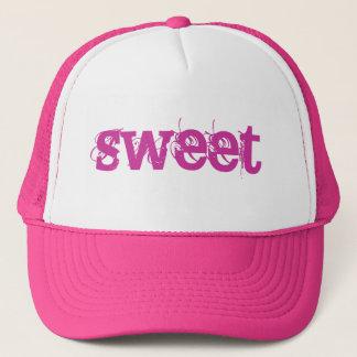 ピンクのグランジな文字の菓子 キャップ