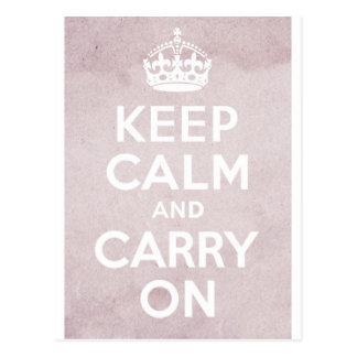 ピンクのグランジなKeep Calm and Carry On ポストカード