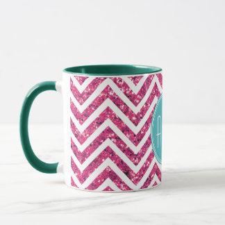 ピンクのグリッターおよびミントのカスタムのモノグラム マグカップ