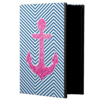 ピンクのグリッターのいかりの青のシェブロン POWIS iPad AIR 2 ケース