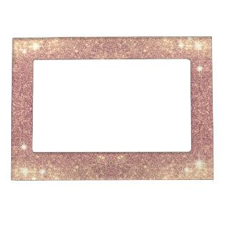 ピンクのグリッターのばら色の金ゴールドの輝きののど マグネットフレーム