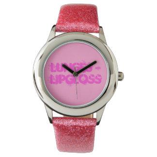 ピンクのグリッターのガーリーな腕時計 腕時計
