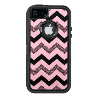 ピンクのグリッターのシェブロンのiPhone SE/5/5sのオッターボックスの場合 オッターボックスディフェンダーiPhoneケース