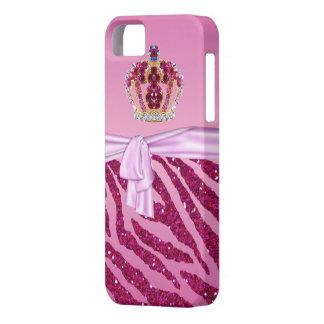 ピンクのグリッターのシマウマのプリント及び宝石の王冠 iPhone SE/5/5s ケース