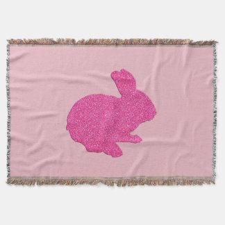 ピンクのグリッターのシルエットのイースターのウサギのブランケット スローブランケット