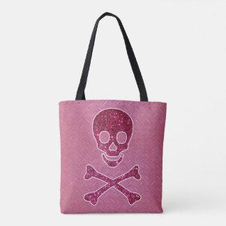 ピンクのグリッターのスカルのトートバック トートバッグ