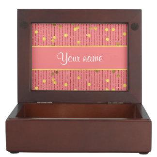 ピンクのグリッターのストライプな金ゴールドの紙吹雪 ジュエリーボックス