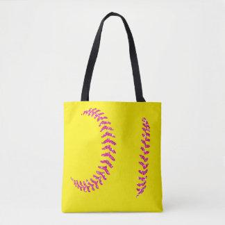 ピンクのグリッターのソフトボールのステッチ トートバッグ