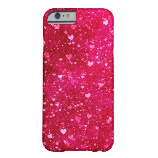 ピンクのグリッターのハートパターン BARELY THERE iPhone 6 ケース