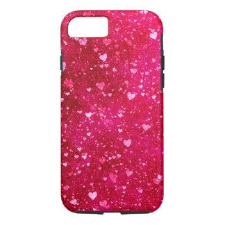 ピンクのグリッターのハートパターン iPhone 8/7ケース