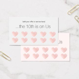 ピンクのグリッターのハート10の穿孔器のサロンの顧客のロイヤリティ 名刺