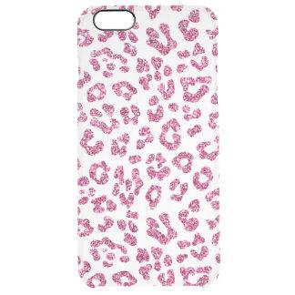 ピンクのグリッターのヒョウのプリントのゆとり クリア iPhone 6 PLUSケース