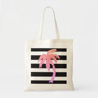 ピンクのグリッターのヤシの木の白黒のストライプのトートバック トートバッグ