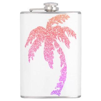 ピンクのグリッターの効果の熱帯ヤシの木のフラスコ8oz フラスク