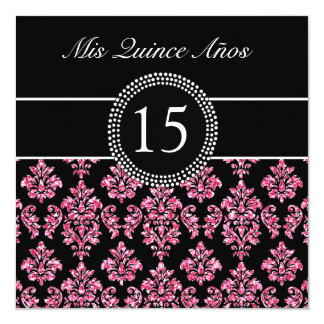 ピンクのグリッターの効果の黒のダマスク織キンセアニェラ カード