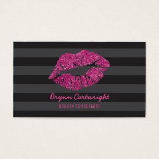 ピンクのグリッターの唇の化粧の美しいコンサルタントの魅力 名刺
