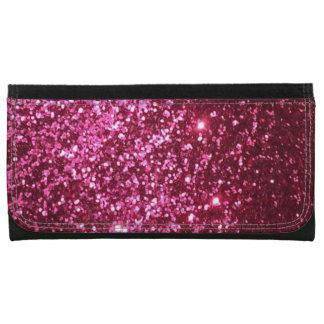 ピンクのグリッターの大きい革財布