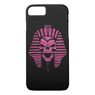 ピンクのグリッターの抽象芸術のミイラのスカルのカッコいい iPhone 8/7ケース