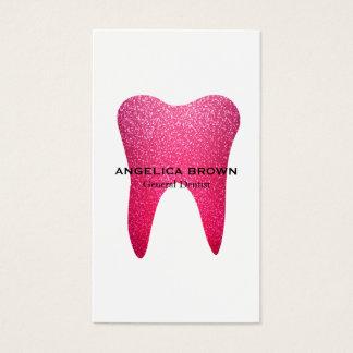 ピンクのグリッターの歯科名刺 名刺