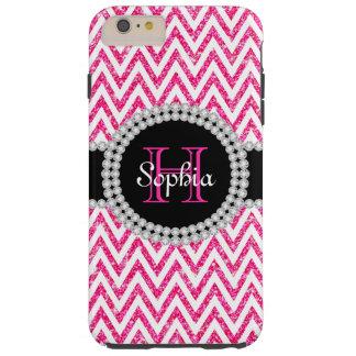 ピンクのグリッターの白いシェブロンTのiPhone 6のプラスの場合 Tough iPhone 6 Plus ケース