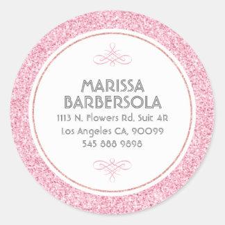 ピンクのグリッターの白い円のモダンなデザイン ラウンドシール