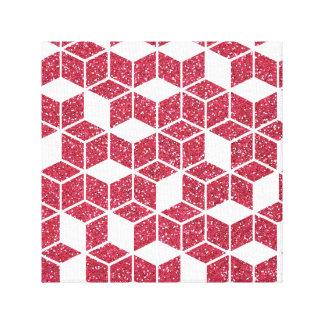 ピンクのグリッターの立方体パターンキャンバスのプリント キャンバスプリント