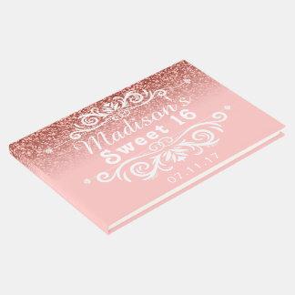 ピンクのグリッターの菓子16のカスタム ゲストブック