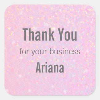 ピンクのグリッターの虹色の効果はステッカー感謝していしています スクエアシール