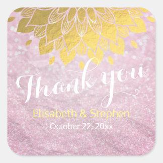 ピンクのグリッターの輝きの金ゴールドの花の結婚式は感謝していしています スクエアシール