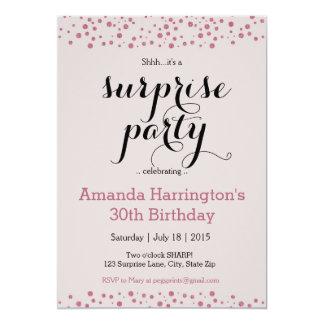 ピンクのグリッターの驚きのパーティの招待状 カード