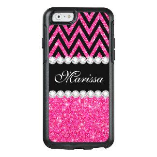 ピンクのグリッターの黒のシェブロンのオッターボックスのiPhone6ケース オッターボックスiPhone 6/6sケース