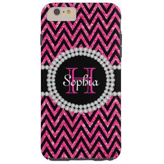 ピンクのグリッターの黒のシェブロンTのiPhone 6のプラスの場合 Tough iPhone 6 Plus ケース
