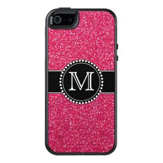 ピンクのグリッターモノグラムのなOtterbox オッターボックスiPhone SE/5/5s ケース