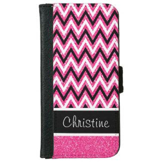 ピンクのグリッター及び黒いシェブロンのiPhone 6のウォレットケース iPhone 6/6s ウォレットケース