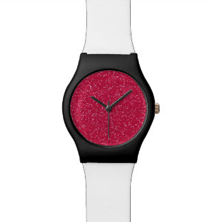 ピンクのグリッター愛 腕時計