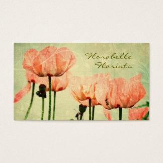 ピンクのケシおよび花柄の渦巻 名刺