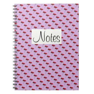 ピンクのケシの花の花柄の赤をくまなく ノートブック