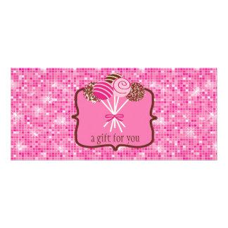 ピンクのケーキのポップ: ギフト券 ラックカード