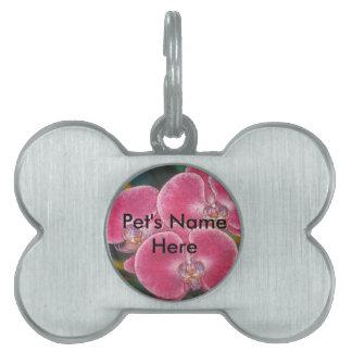 ピンクのコチョウランの蘭の花のペット用名札 ペットネームタグ