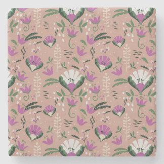 ピンクのコテージのフォークの花柄 ストーンコースター