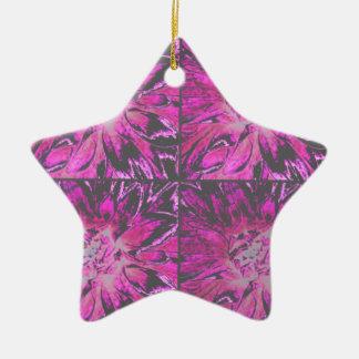 ピンクのコラージュのダリアの花模様 セラミックオーナメント