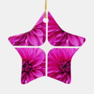 ピンクのコラージュのダリアの花模様 陶器製星型オーナメント
