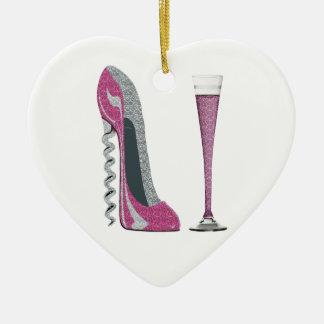 ピンクのコルクせん抜きの小剣およびシャンペンフルート セラミックオーナメント
