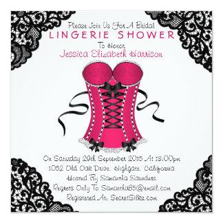 ピンクのコルセット及び黒いレースのランジェリーのシャワー カード