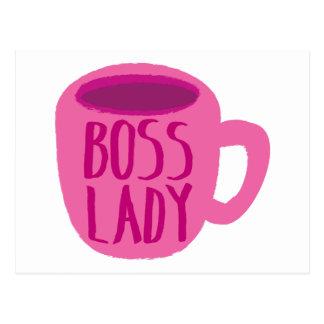 ピンクのコーヒーカップを持つボスの女性 ポストカード