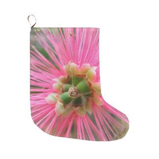 ピンクのゴムの木の花 ラージクリスマスストッキング