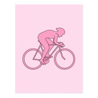 ピンクのサイクリスト ポストカード