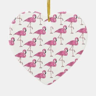 ピンクのサケ-フラミンゴパターン セラミックオーナメント